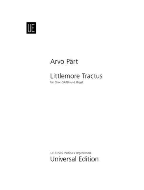 Arvo for mixed choir Littlemore Tractus Paert and organ 9790008063275 SATB